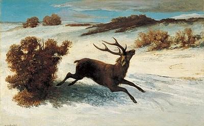 Courbet - 雪の中を駆ける鹿.jpg